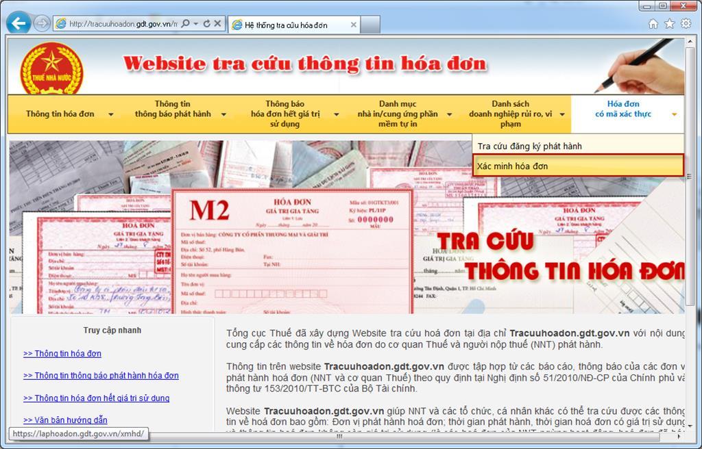 Giao diện website tra cứu thông tin hóa đơn của Tổng cục Thuế