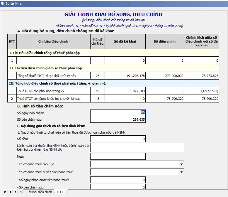 Điều chỉnh kê khai thuế