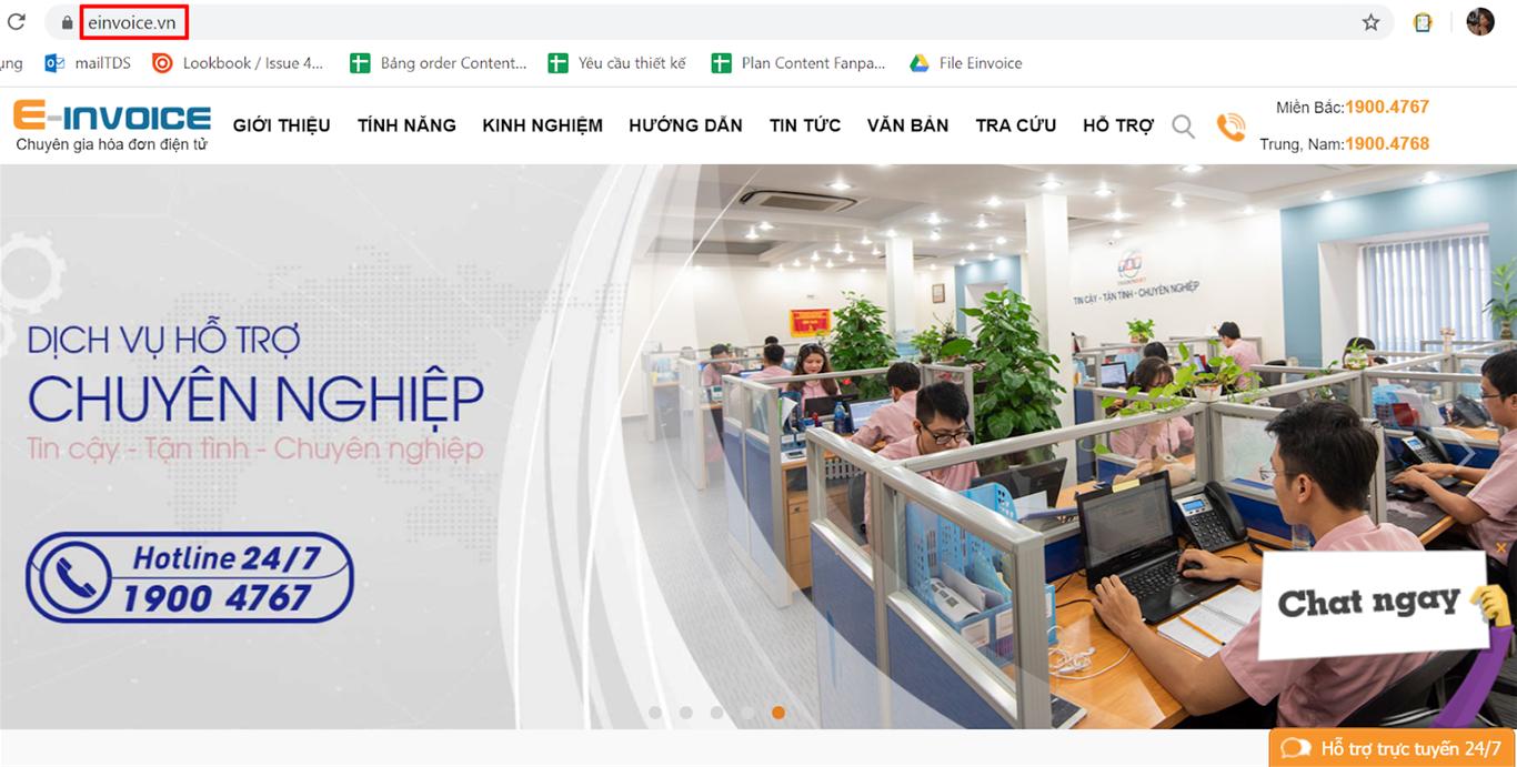Truy cập website einvoice.vn