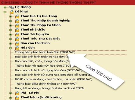 Chọn Thông báo phát hành hóa đơn (TB01/AC)